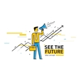 Businessman with megaphone looking to the future vector image vector image