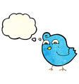 cartoon funny bird with thought bubble vector image vector image