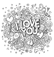 Cartoon hand drawn Doodle I Love You vector image vector image