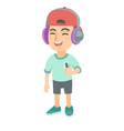 caucasian boy listening to music in headphones vector image vector image