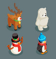 christmas animals isometric polar white bear vector image vector image