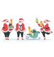 christmas funny santa claus with gift boxes vector image