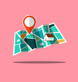 city map app icon with pin and house vector image