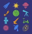 colorful space silhouette icons set in flat style vector image vector image