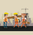 construction workers cartoons vector image