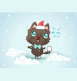 cute cat in christmas hat vector image vector image