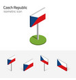 czech republic flag set 3d isometric icon vector image