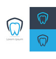 dental logo tooth in shield icon vector image vector image