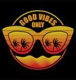 eyeglasses retro sunset silhouette coconut tree vector image vector image