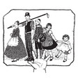 family picture five members vintage engraving vector image vector image