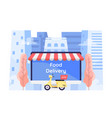 flat 3d isometric online food ordering system on vector image