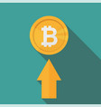 flat icon design of uptrend line arrow - bitcoin vector image