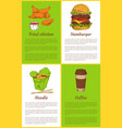 fried chicken and hamburger vector image vector image