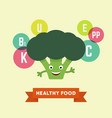 funny cartoon smiling broccoli vector image vector image