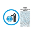global manager rounded icon with 1000 bonus icons vector image vector image