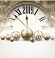 gold 2019 new year background with clock vector image vector image