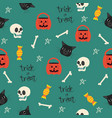 halloween seamless with head black cat pattern vector image