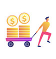 happy businessman pulling cart with golden coins vector image vector image