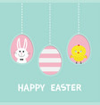 happy easter text three painting egg shell vector image vector image