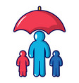 insurance family icon cartoon style vector image vector image