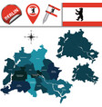 map of berlin with boroughs vector image vector image