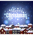 Merry Christmas on night snowy town background vector image