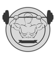 monochrome circular border with muscle man lifting vector image vector image