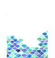 ocean wave and scale fish watercolor vector image vector image