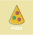 pizza in line art flat style vector image vector image