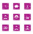 prosperous company icons set grunge style