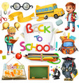 school and education back to school 3d icon set vector image