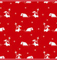 seamless pattern of santa claus silhouette vector image vector image