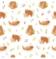 seamless pattern with cute animals families wombat vector image