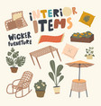 set icons interior items and wicker furniture vector image