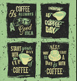 set of retro coffee grunge posters vector image vector image