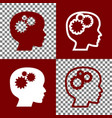 thinking head sign bordo and white icons vector image vector image
