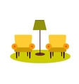 two armchairs and floor lamp vector image