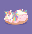 unicorn on donut sweet dessert cafe bar coffee vector image vector image