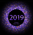 violet discoball new year 2019 greeting poster vector image