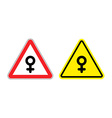 Warning sign of attention woman Yellow danger girl vector image vector image