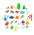 wildlife sanctuary icons set isometric style vector image