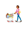 woman shopping in grocery shop cartoon vector image vector image
