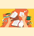 write letter hands holding opened paper mail vector image
