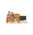 young family watching tv with little boy people vector image vector image