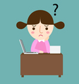 girl thinking with question marks vector image