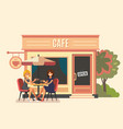 summer cafe and two girl vector image