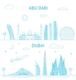 Abu Dhabi and Dubai skyline in lines vector image