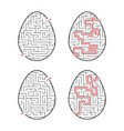 a set of labyrinths in the form of eggs black vector image vector image