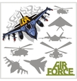 Air force - silhouettes planes and helicopters vector image vector image