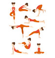 athletic young girl doing yoga stands in the pose vector image vector image